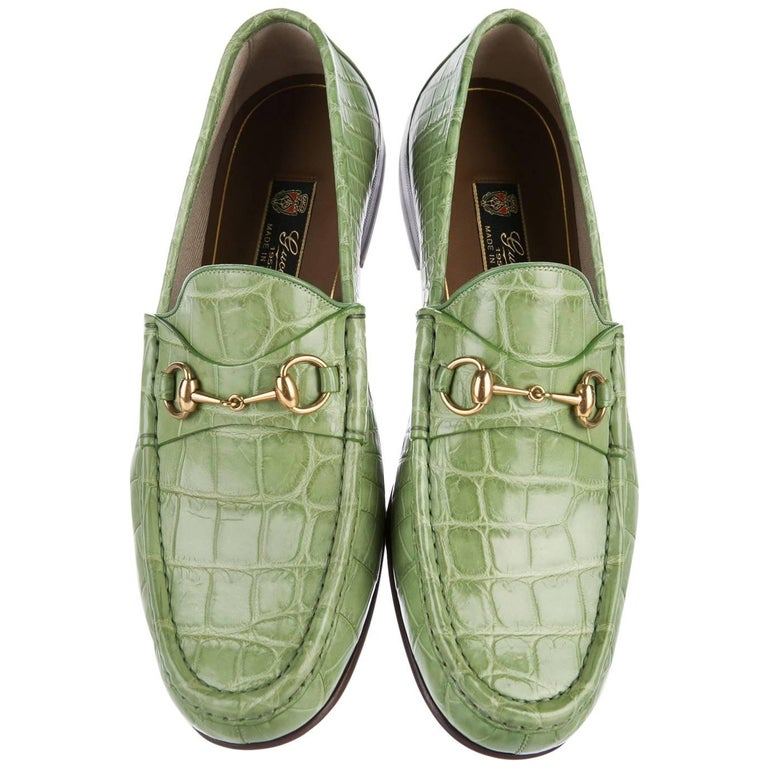 3ebe8bacb81 New Gucci Men s Horsebit Crocodile Countryside Loafers