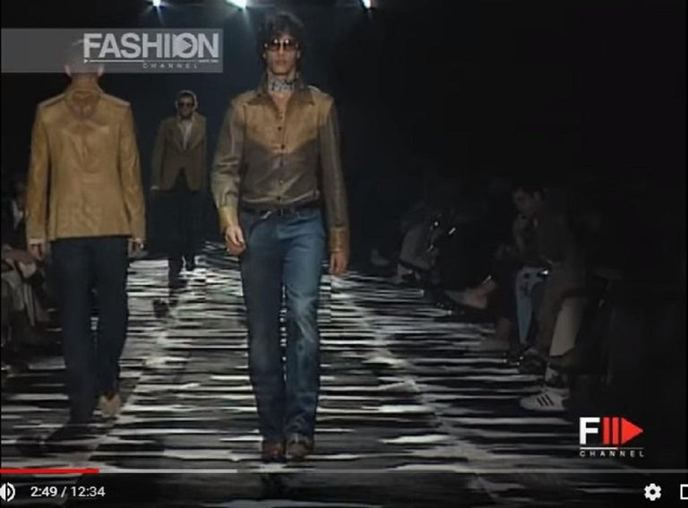 ee201a00 Tom Ford for Gucci Runway S/S 2004 Collection Western Leather Men's Shirt  It.