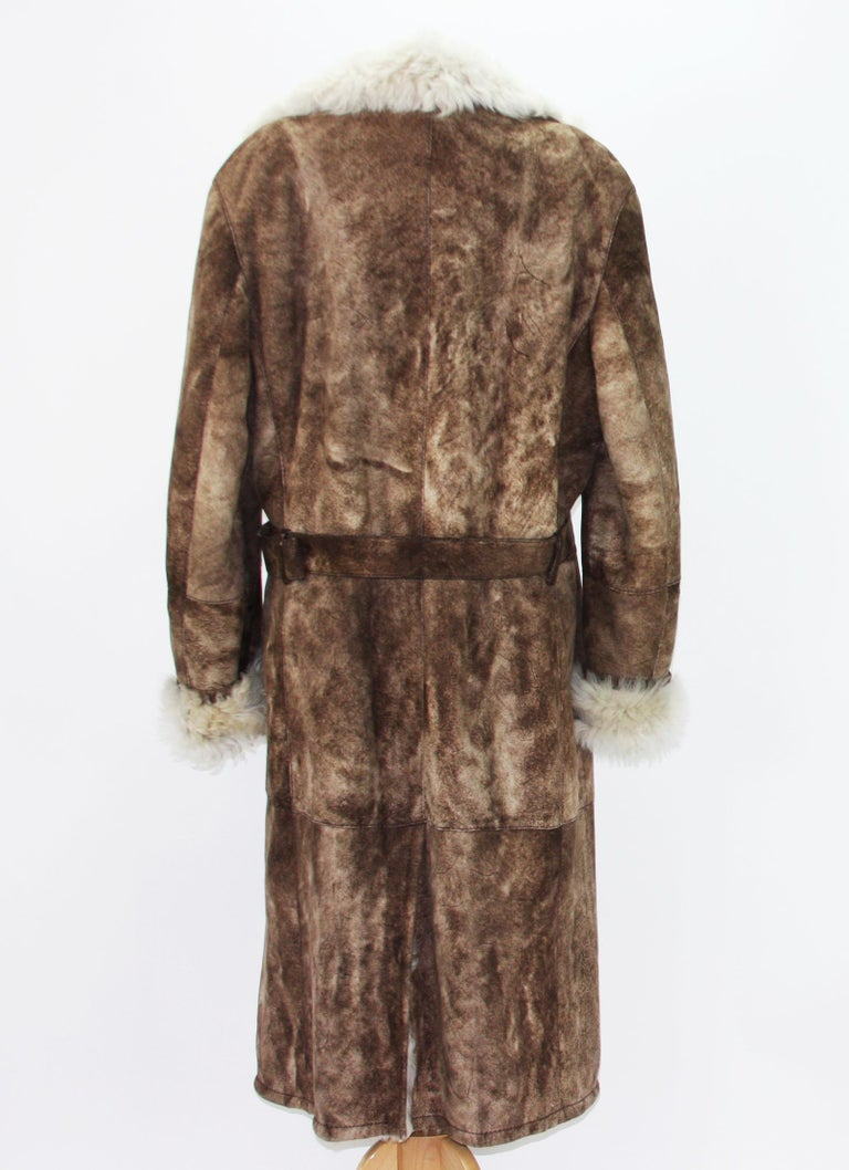459046b3 Tom Ford for Gucci Men's Brown Shearling Suede Long Winter Coat It.54 - US  44