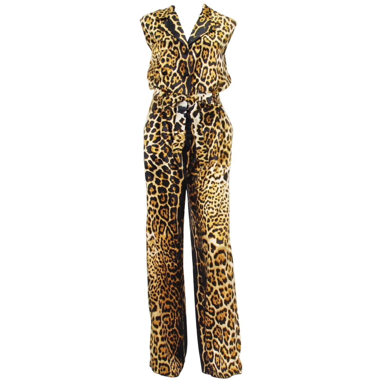 New Yves Saint Laurent Silk Leopard Print Jumpsuit Fr. 40 US 8/10
