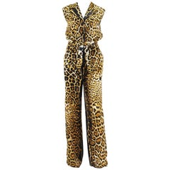 New Yves Saint Laurent Silk Leopard Print Jumpsuit Fr. 40 US 8/10