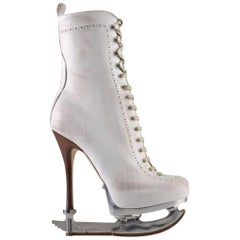 Dsquared2 Skate Moss Runway Ice Skate White Ankle Leather Boots