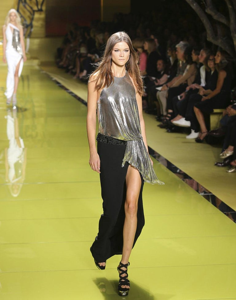 New Versace Silver Metallic Mesh Cut Out Black High Slit Gown  40 For Sale 1