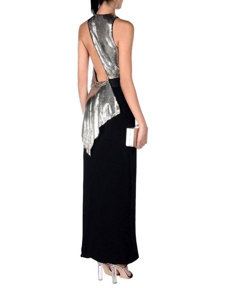 New Versace Silver Metallic Mesh Cut Out Black High Slit Gown  40 For Sale 3
