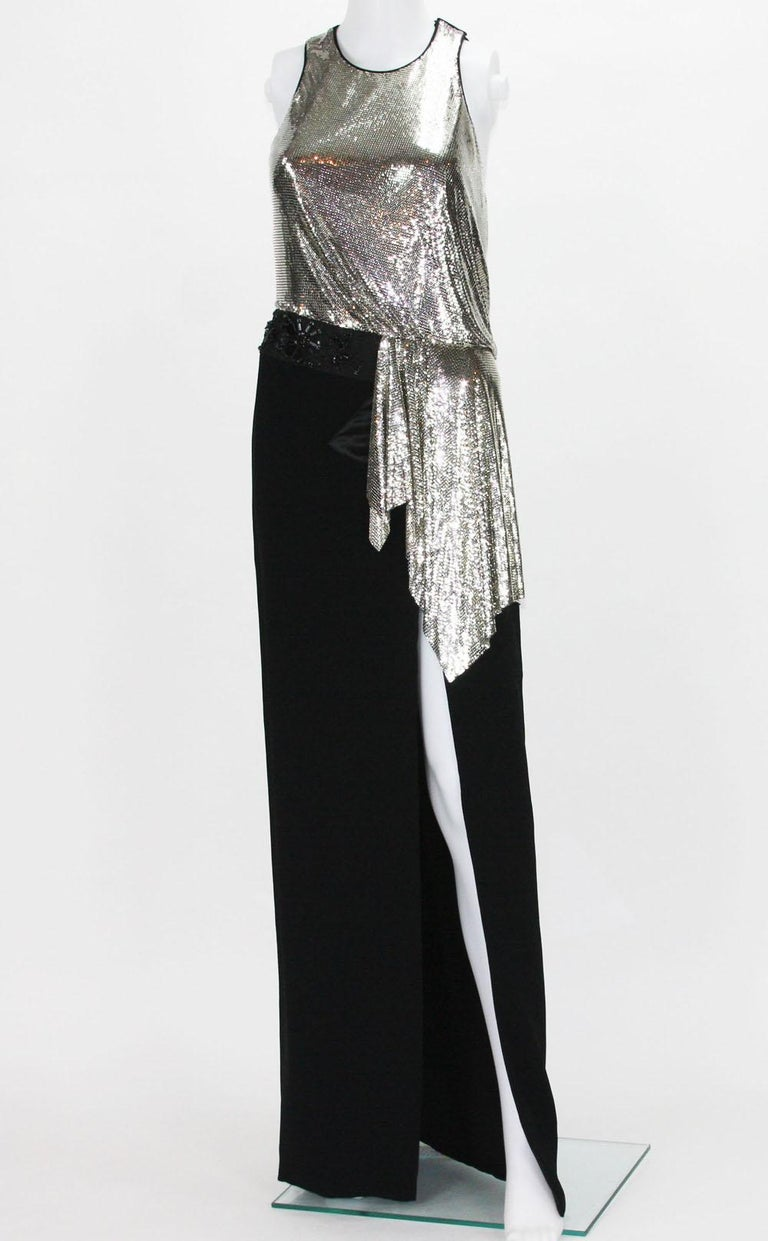 New Versace Silver Metallic Mesh Cut Out Black High Slit Gown  40 For Sale 4