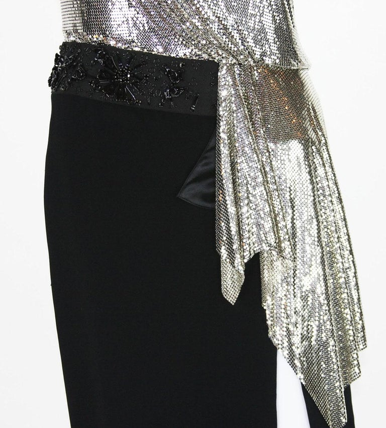 New Versace Silver Metallic Mesh Cut Out Black High Slit Gown  40 For Sale 6