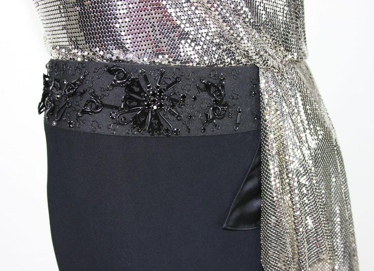 New Versace Silver Metallic Mesh Cut Out Black High Slit Gown  40 For Sale 7