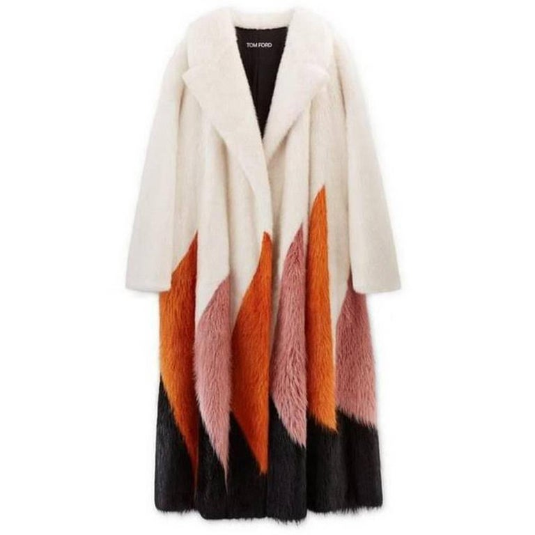 New Tom Ford F/W 2016 Collection White Orange Pink Black Mink Long Coat size S