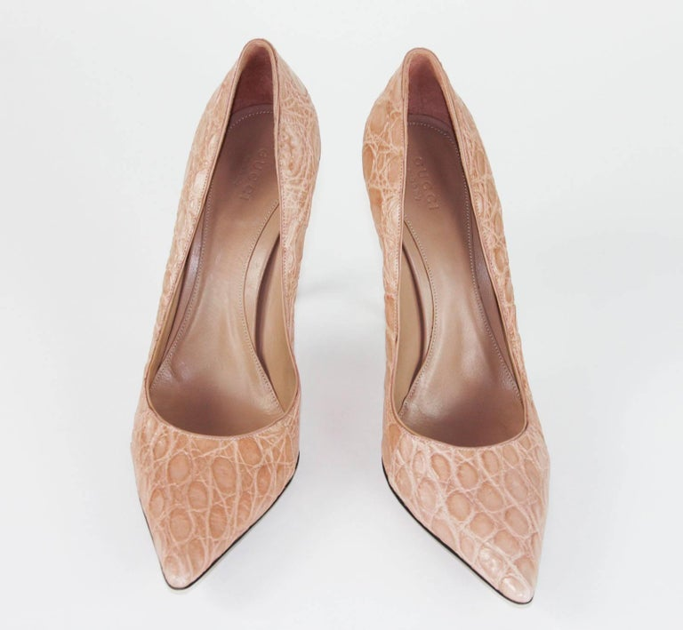 Women's New Tom Ford for Gucci Crocodile Nude Bamboo Heel Shoes 2004 Collection 39 - 9 B For Sale