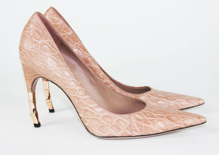 New Tom Ford for Gucci Crocodile Nude Bamboo Heel Shoes 2004 Collection 39 - 9 B For Sale 1