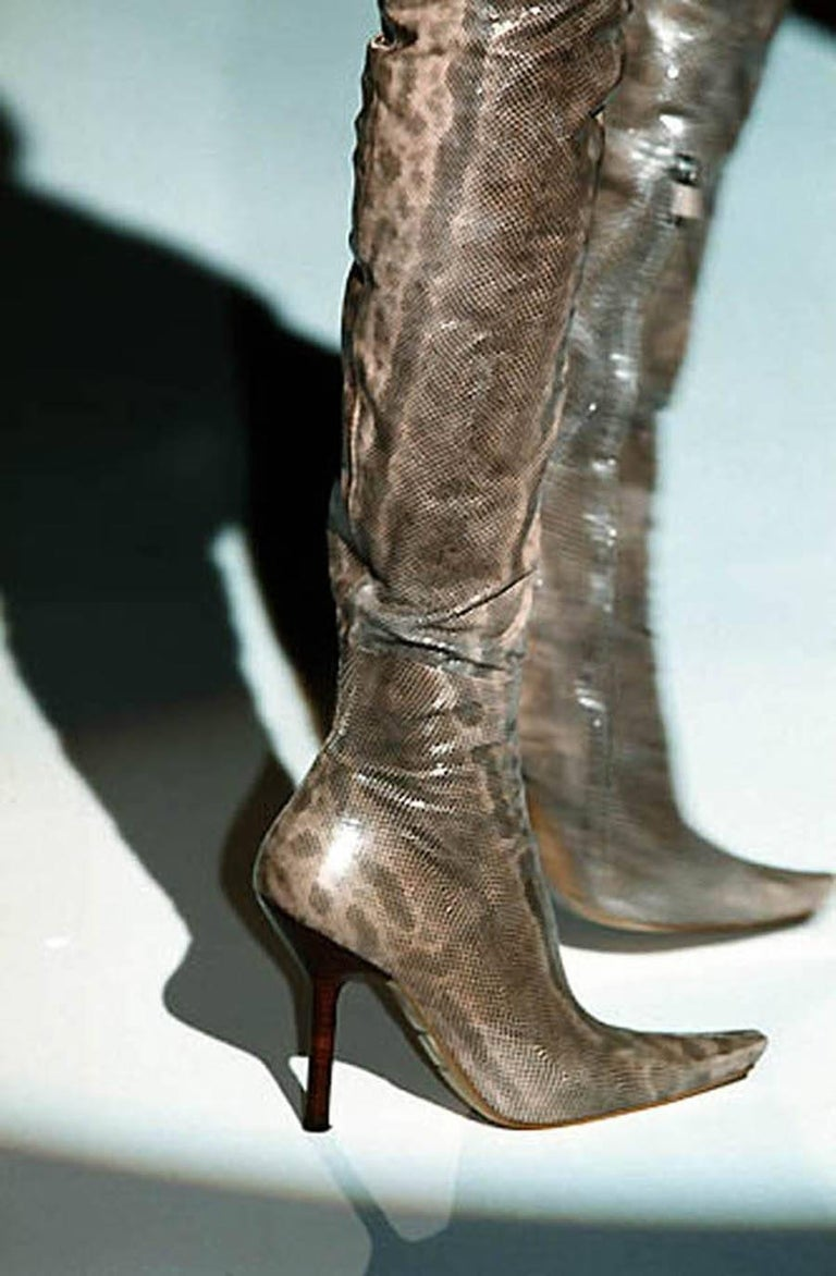 Brown New Tom Ford for Gucci Water Snake Over Knee Boots, 1999 Collection 38 - US 8