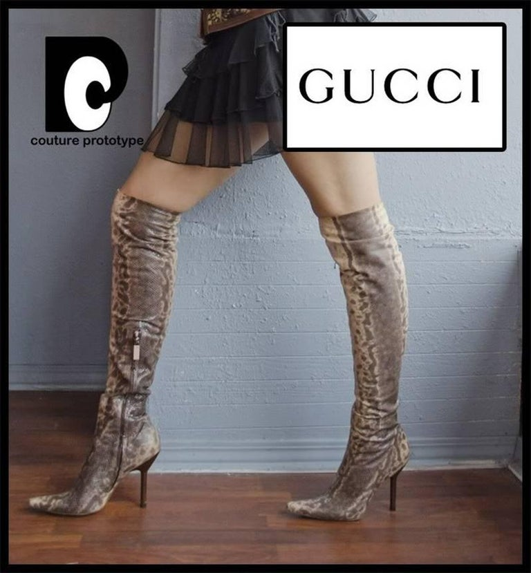 New Tom Ford for Gucci Water Snake Over Knee Boots, 1999 Collection 38 - US 8 In New Condition In Montgomery, TX