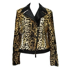 New Etro Women Fur Lamb Leopard Print Leather Moto Jacket  42 - US 6/8