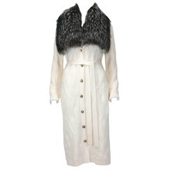 New Versace Cream Wool Cardigan Coat Removable Silver Fox Collar 38