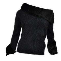 Tom Ford for Gucci 2001 Collection Black Angora and Mink Fur Luxurious Sweater M