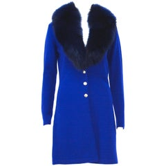 New Versace Purple Blue Wool Cardigan with Detachable Fox Collar 42