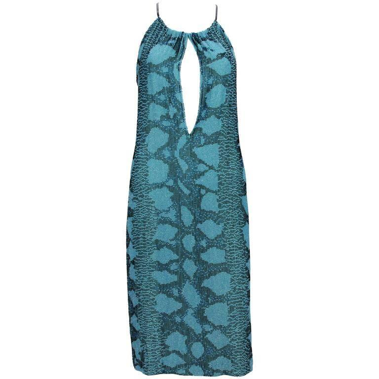 New Tom Ford for Gucci S/S 2000 Campaign Fully Beaded Python Cocktail Dress 42 For Sale