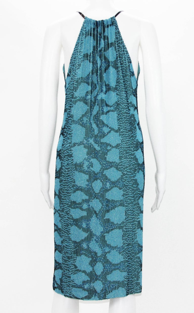 Blue New Tom Ford for Gucci S/S 2000 Campaign Fully Beaded Python Cocktail Dress 42 For Sale