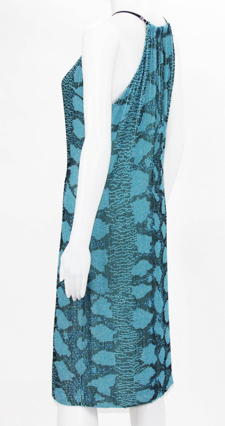 New Tom Ford for Gucci S/S 2000 Campaign Fully Beaded Python Cocktail Dress 42 In New Condition For Sale In Montgomery, TX