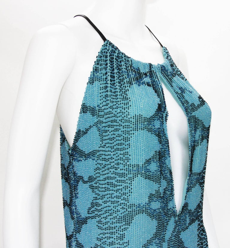 Women's New Tom Ford for Gucci S/S 2000 Campaign Fully Beaded Python Cocktail Dress 42 For Sale