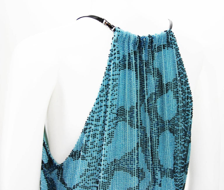 New Tom Ford for Gucci S/S 2000 Campaign Fully Beaded Python Cocktail Dress 42 For Sale 3