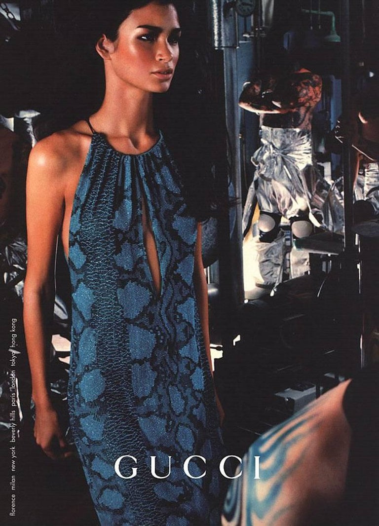 New Tom Ford for Gucci S/S 2000 Campaign Fully Beaded Python Cocktail Dress 42 For Sale 4
