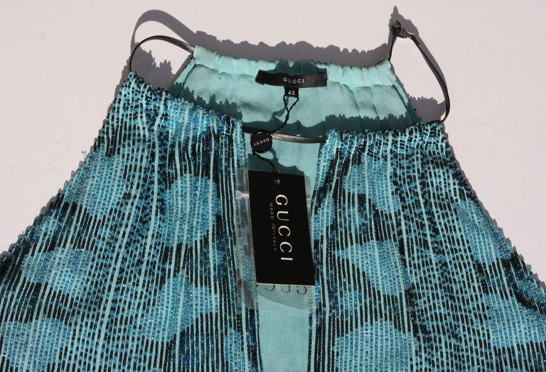 New Tom Ford for Gucci S/S 2000 Campaign Fully Beaded Python Cocktail Dress 42 For Sale 5