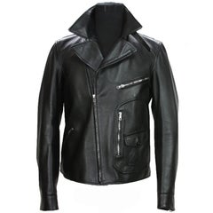 New GUCCI Men's Black Leather Moto Biker Jacket It.50 - US 40