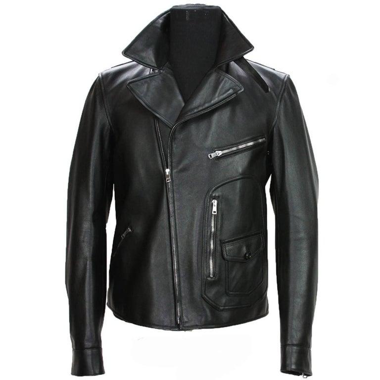 New GUCCI Men's Black Leather Moto Biker Jacket It.50 - US 40 For Sale