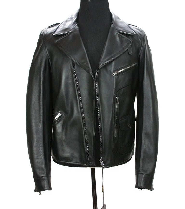 New GUCCI Men's Black Leather Moto Biker Jacket Italian Sizes Available 50 - US 40 100% Leather, Black Color Single Front Zippered, Zip Cuffs Details Four Style Pockets, One Inner Pocket Oversize Metal Hardware, Fully Lined Embossed GUCCI Trademark