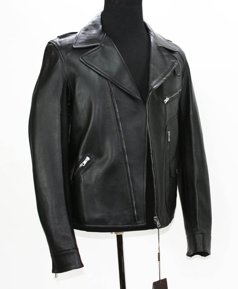 New GUCCI Men's Black Leather Moto Biker Jacket It.50 - US 40 In New Condition For Sale In Montgomery, TX