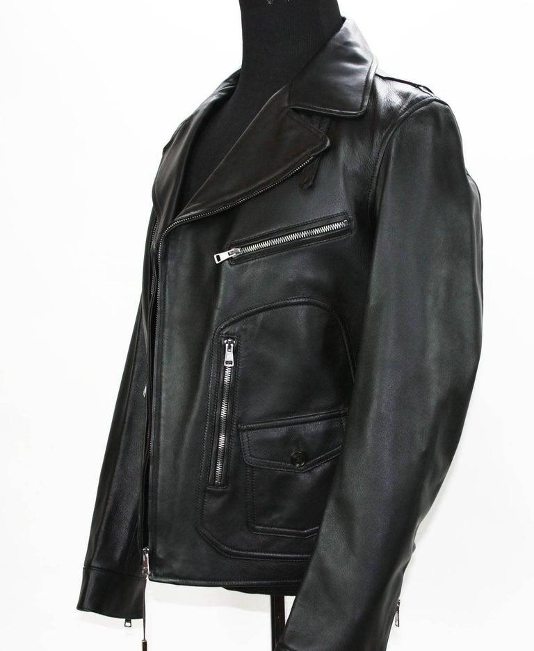 New GUCCI Men's Black Leather Moto Biker Jacket It.50 - US 40 For Sale 1