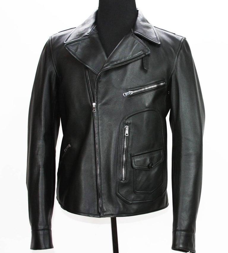 New GUCCI Men's Black Leather Moto Biker Jacket It.50 - US 40 For Sale 2