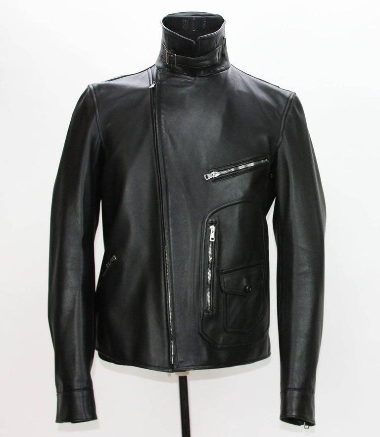 New GUCCI Men's Black Leather Moto Biker Jacket It.50 - US 40 For Sale 3