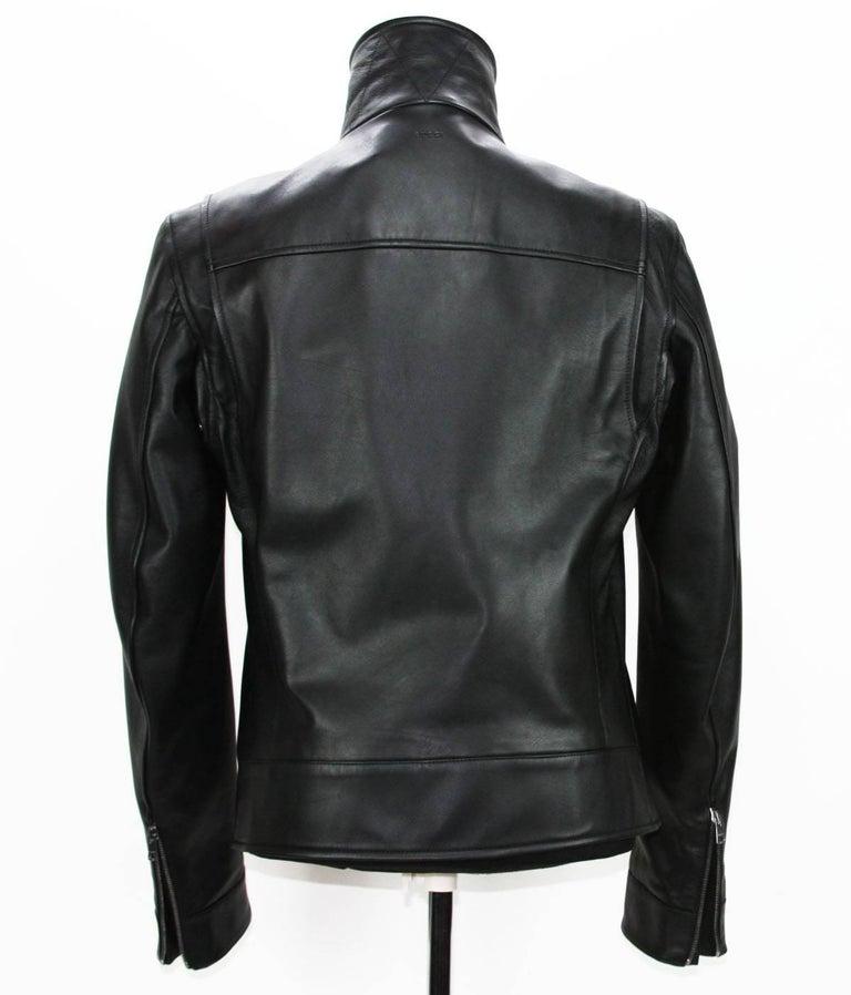 New GUCCI Men's Black Leather Moto Biker Jacket It.50 - US 40 For Sale 4
