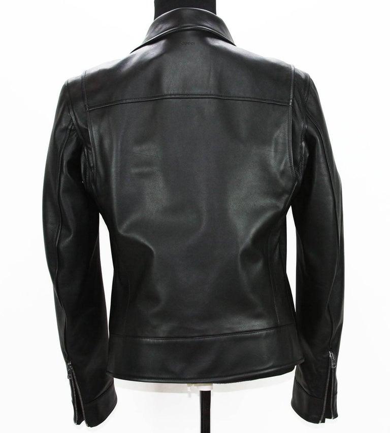 New GUCCI Men's Black Leather Moto Biker Jacket It.50 - US 40 For Sale 5