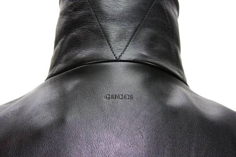 New GUCCI Men's Black Leather Moto Biker Jacket It.50 - US 40 For Sale 6