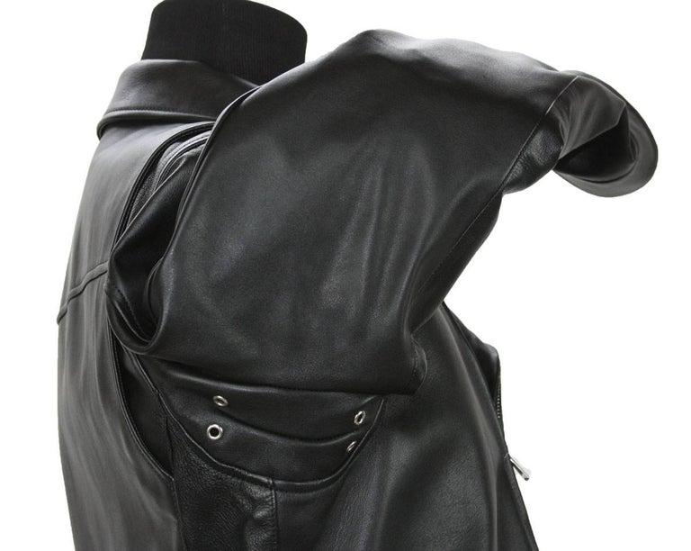 New GUCCI Men's Black Leather Moto Biker Jacket It.50 - US 40 For Sale 7