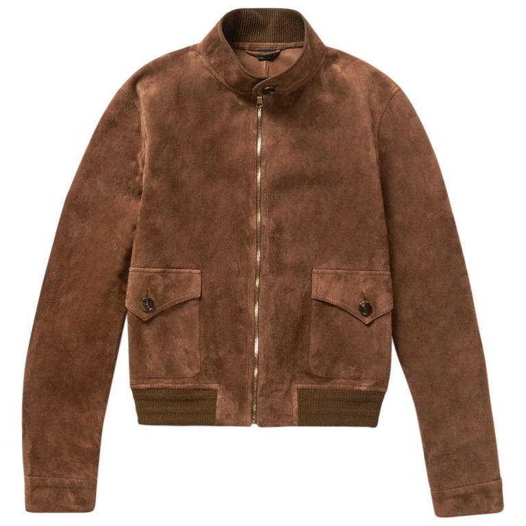 8075a6299 New Gucci Men's Goat Suede Brown Bomber Jacket 48 - US 38