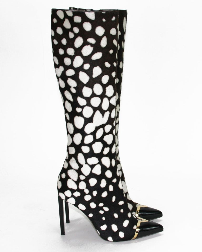 Women's New Versace Collection Leopard Print Calf Hair Stiletto Heel Boots IT 38 US 8 For Sale