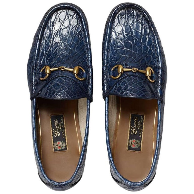 bfc049d3e3b New GUCCI Men s Runway 1953 Horsebit CROCODILE Maritime Loafers 8.5 For Sale