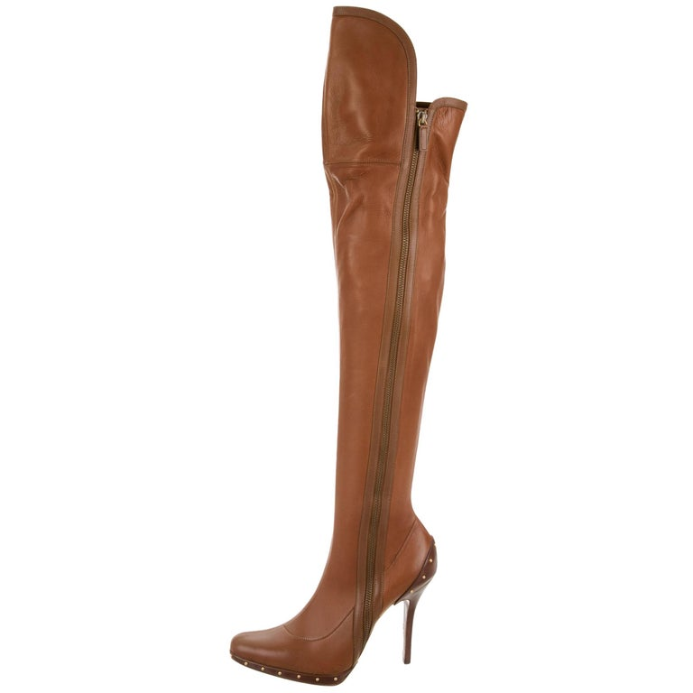 Tom Ford for Gucci F/W 2003 Campaign Leather Over Knee Gold Studs Boots 39 C - 9