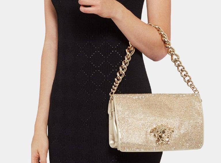 New Versace Gold Palazzo Sultan Medusa Swarovski Crystal Evening Shoulder  Bag For Sale 1 2d6eec8f7b