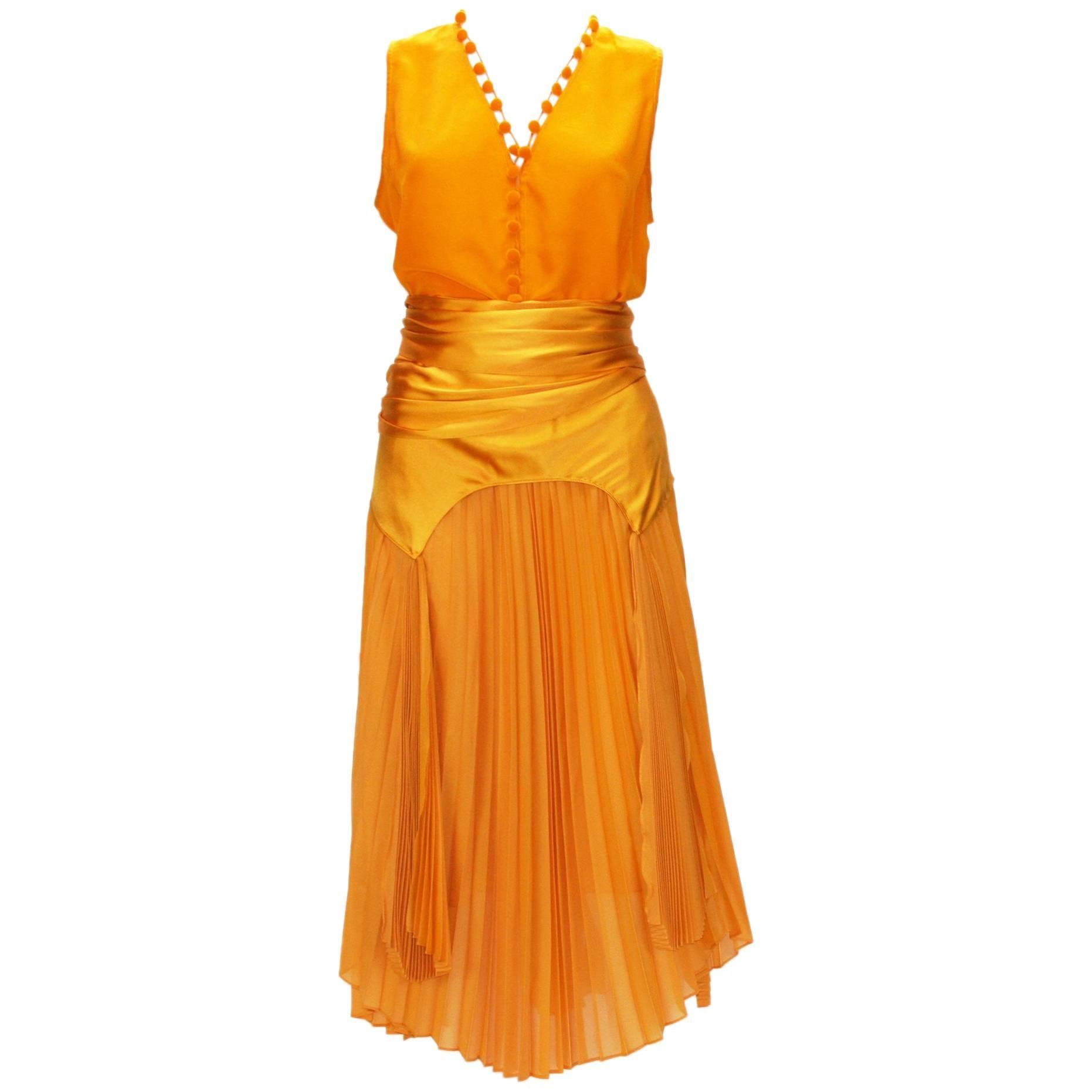 Tom Ford for Yves Saint Laurent S/S 2004 Silk Orange Top and Skirt Set  Fr 38/40