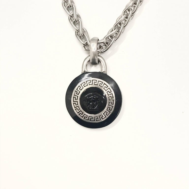 Gianni versace 1990s silver and black enamel pendant necklace for gianni versace 1990s silver and black enamel pendant necklace in excellent condition for sale in nottingham mozeypictures Gallery