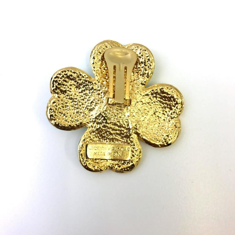 Women's 1990s Gianni Versace flower clip on earrings For Sale
