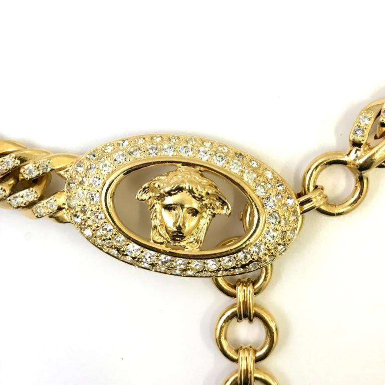 1990s Gianni Versace curb chain medusa head belt with rhinestones  In New Condition For Sale In Nottingham, GB