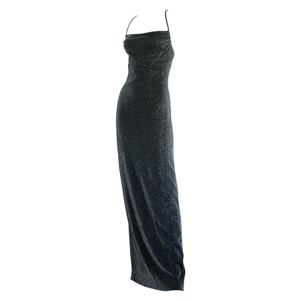 1990s Vintage Gianni Versace Pre-Death Versus Silver Metallic Criss Cross Gown For Sale