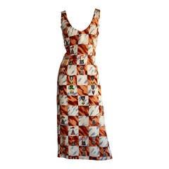 "Vintage Nicole Miller Novelty "" Chess Print "" Silk Dress"
