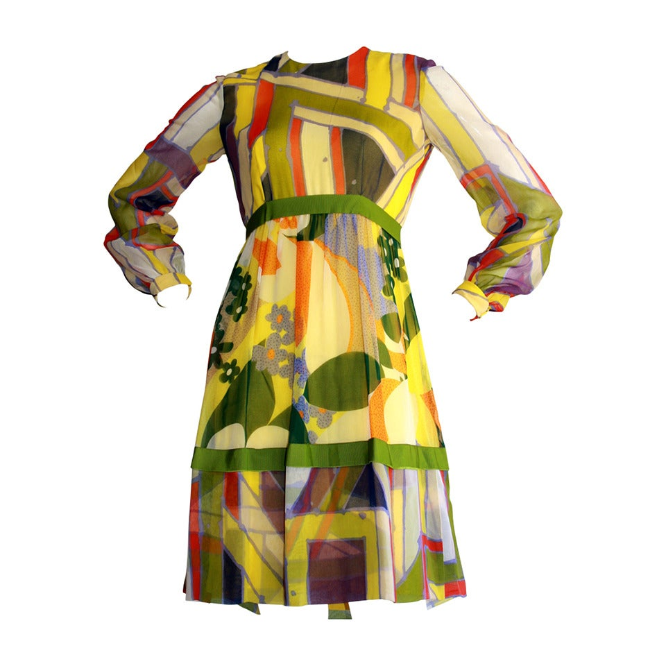 "1960s Vintage Rodrigues Mod Silk Neiman Marcus "" Twiggy "" Op - Art Dress"